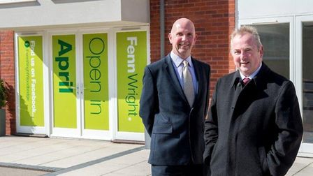 Alistair Mitchell and Charlie Wright, both partners at Fenn Wright, outside the firm's new Woodbridg