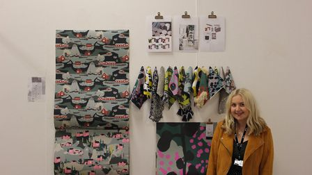 Emilly Sexton with her work shortlisted for the Nicole Abbott Award. Picture: WILL HUNT/COLCHESTER I