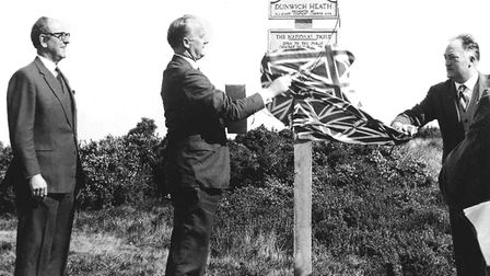 Flashback to 1968 - the Earl of Euston, centre, unveils the National Trust's Dunwich Heath sign with