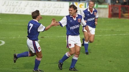 Ipswich Town's John Wark, pictured celebrating with Geraint Williams during Ipswich Town's 4-2 win o