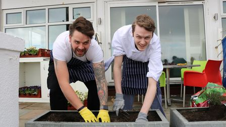 Brudenell Hotel head chef Ben Hegarty, left, and apprentice chef Callum Burch try their hand at crea