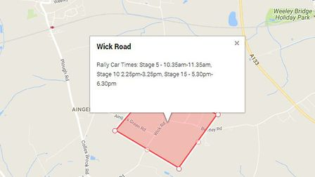 Wick Road near Great Bentley, where one of the spectator areas for the Corbeau street rally will be