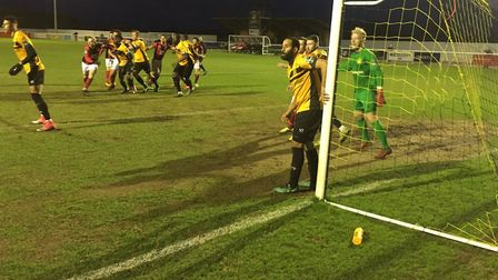 Goalmouth action with Heybridge Swifts on the attack at Cheshunt. Picture: CARL MARSTON