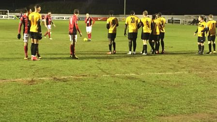 Heybridge Swifts prepare to take a free-kick at Cheshunt during the first half of a Bostik North cla