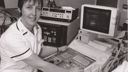 Maureen Cunnington at work using an ultrasound scanner in the 1980s. Picture: SUPPLIED BY WEST SUFFO