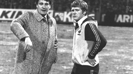 Bobby Robson and Bobby Ferguson, right, before Town's UEFA Cup game in St Etienne in 1981. Picture: