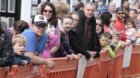 Crowds watch the action in Market Hill. Picture: NIGE BROWN