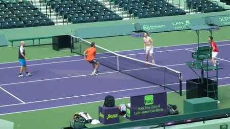 Andy Murray and three of his training group break out a game of tennis volleyball in Miami. Picture: