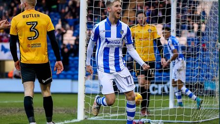 Substitute Ben Stevenson celebrates scoring on his U's debut in the home win over Newport County at