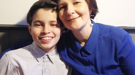 Arran Tosh with his mum Alison. Picture: SUPPLIED BY FAMILY