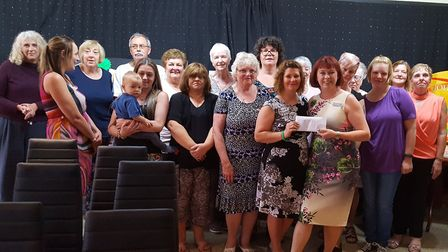 Georgeena Butler with Sudbury Slimming World group members, who along with the Long Melford group fu