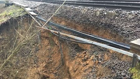 A picture of the previous landslip, which damaged the railway between Alresford and Great Bentley. P