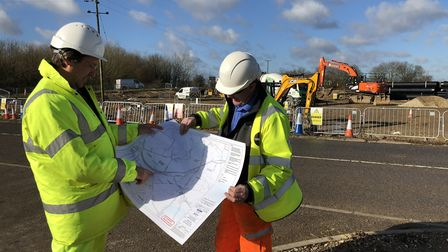 Workers carrying out improvement to the A120 roundabout at Hare Green - now the full stretch of the