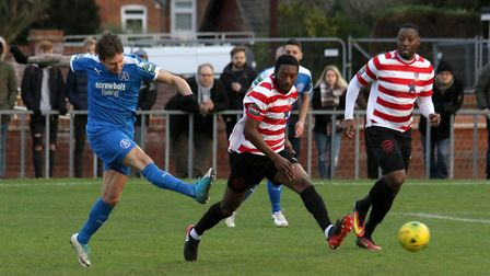 Christy Finch was in the goals for Leiston this week. Picture: JOHN HEALD