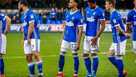 Barry Cotter lines up ahead of his Town debut in the Ipswich Town v Barnsley (Sky Bet Championship)