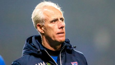 Mick McCarthy leaves the pitch at half-time in what proved to be his final match in charge of Ipswic