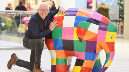 Elmer the elephant gets a hug from campaign manager Norman Lloyd. Picture: GREGG BROWN