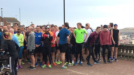 Runners, joggers and walkers congregate at the start of last weekend's Gorleston Cliffs parkrun, at