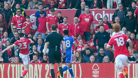 Joe Lolley scores the winner for Nottingham Forest in the dying seconds of the game against Ipswich
