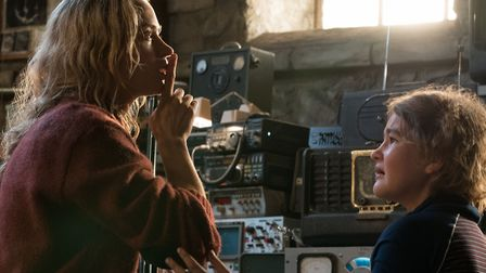 Emily Blunt as Evelyn Abbott and Millicent Simmonds as Regan Abbott in A Quiet Place. Photo: Paramou