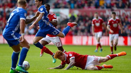 Tristan Nydam leaps over a Jack Colback sliding challenge Picture Pagepix