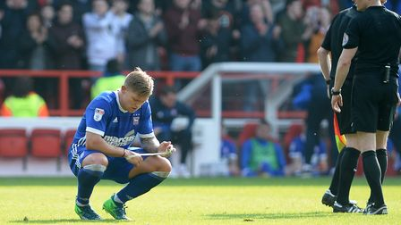 Martyn Waghorn contemplates the defeat at Nottingham Forest in the dying seconds of the game. Pictur