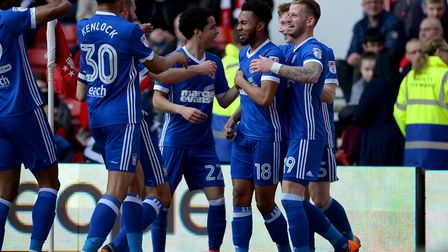 Ipswich celebrate at Nottingham Forest after Grant Ward had put them ahead Picture Pagepix