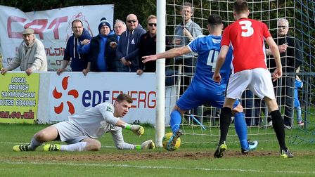Jack Ainsley taps home to give Leiston the lead against Burgess Hill Town. Picture: JOHN HEALD