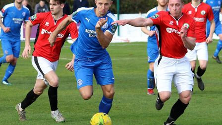 Leiston's Jake Reed runs at the defence. Picture: JOHN HEALD