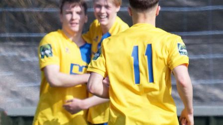 Callum Harrison and Ollie Gravett celebrate the former's equaliser against Ware. Picture: PAUL VOLLE