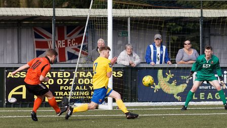 Ex-Stowmarket Town star Dave Cowley fires in an effort for Ware at Sudbury. Picture: PAUL VOLLER