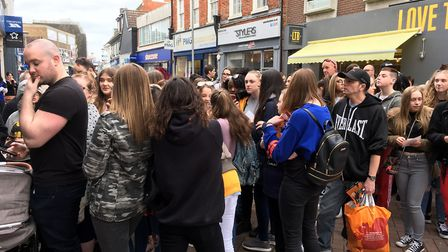 Fans wait patiently for the arrive of Joey Essex at the German Doner Kebab shop in Ipswich Picture:
