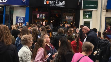 Fans wait patiently for Joey Essex's arrival at the German Doner Kebab shop in Ipswich Picture: RUSS