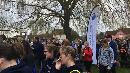 Fundraisers gather for a walk and talk event in Stoke-by-Nayland for the Charlie Watkins Foundation.
