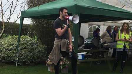 Harry Watkins welcoming people to the walk and talk event in aid of the Charlie Watkins Foundation.