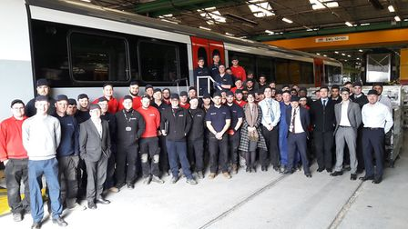 The first carriage of Greater Anglia's new Bombardier trains has been completed at Derby. Picture: G