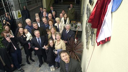Colin Self unveils the Beatles plaque in Norwich. Picture: BILL SMITH