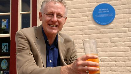 MP Norman Lamb after unveiling the EDP blue plaque at The Hill House at Happisburgh, where Sir Arthu