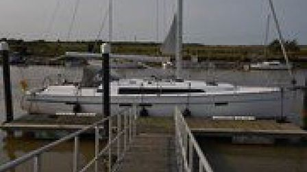 The yacht - Flamongo - which brought 19 migrants into Southwold. Picture: NATIONAL CRIME AGENCY