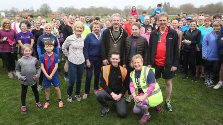 Pictured at the Newmarket Great Run Local are back row, left to right, councillors Rachel Hood,Phill