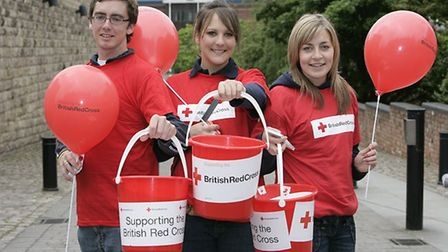 Red Cross staff with their collection buckets. Picture: BRITISH RED CROSS