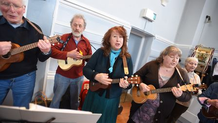 A ukulele band performed for the celebration. Picture: GREGG BROWN