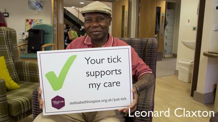St Elizabeth Hospice patient Leonard Claxton supports the Just Tick campaign. Picture: ADRIAN RAWLIN