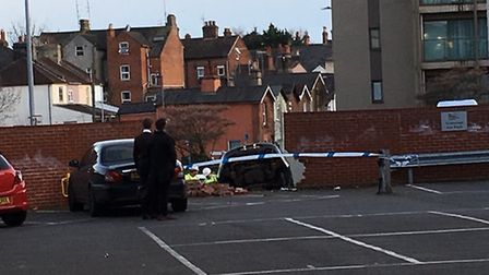 A car has ploughed through a wall in Colchester. Picture: MICHAEL POLOM @pmmikes