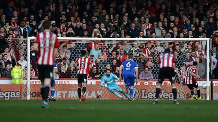 Bartosz Bialkowski is sent the wrong way as Brentford get their winner. Picture Pagepix
