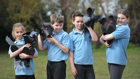 Phoebe, Edward, Archie and Ruby with their Hell Hounds ahead of their performance. Picture: SARAH LU