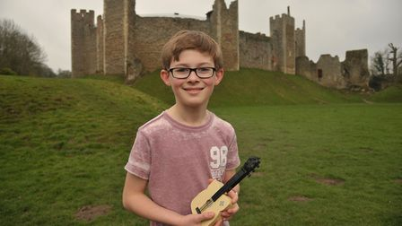 James Flatman with the lego idea in tribute to Ed Sheeran, in front of the 'Castle on the Hill'. Pi