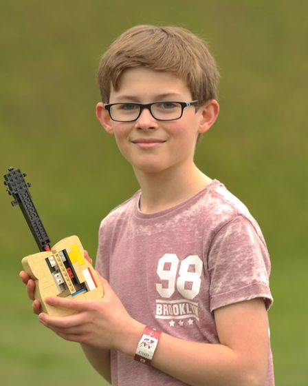 James Flatman with the lego idea in tribute to Ed Sheeran. Picture: SARAH LUCY BROWN