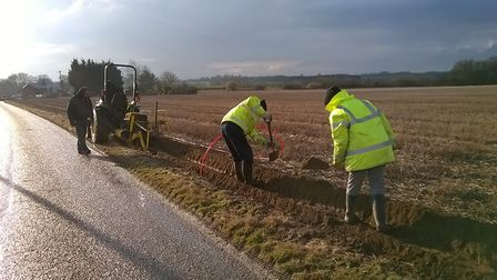 B4RN East Anglia volunteers working on the project at Scole. Picture: B4RN EAST ANGLIA