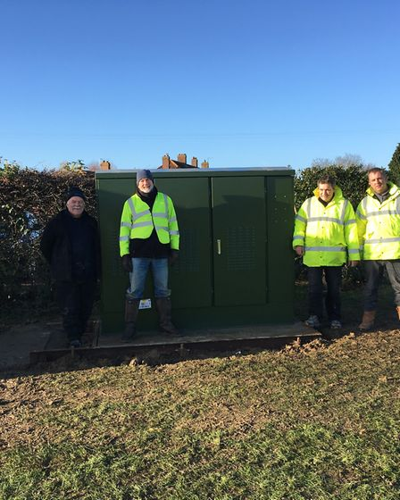 The B4RN East Anglia project at Scole. Pictured are Graham Mills, Adrian Gidlow, David Evans (B4Rn E